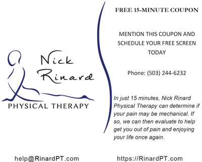 Free Screening Coupon for Nick Rinard Physical Therapy