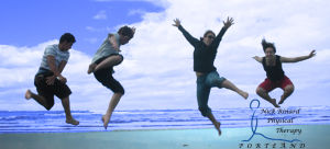 Nick Rinard Physical Therapy 4 people jumping on the beach