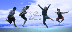 People on a beach jumping for joy - Nick Rinard Physical Therapy, Portland, Oregon