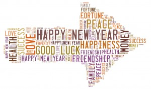2015; Happy New Year; Love; Peace; Good Luck; Money; Happiness; Health; Success; Friendship; Family; Fortune; Prosperity; word cloud;